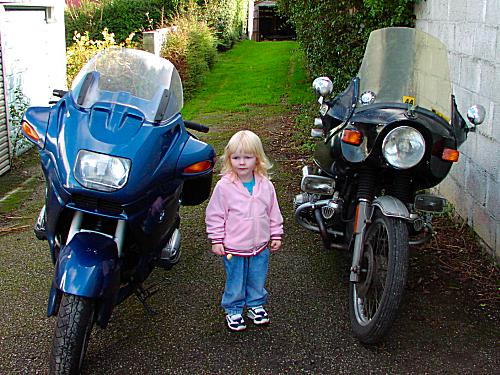Natalies daughter with her dads motorcycles